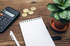 Business ideas concept. Tax inspector or banker desk table background. Notepad with copy space, pen, calculator and green plant tree on wooden table top view Royalty Free Stock Images