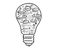 Business ideas. Conceptual image with drawn light bulb and business sketches Royalty Free Stock Images