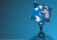 Vector business for ideas and creativity in the business world with a world map, gears and lamps, flat design. Business for ideas and creativity in the business Royalty Free Stock Photos