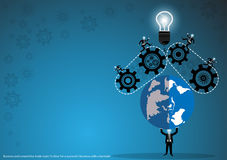 Vector business for ideas and creativity in the business world with a world map, gears and lamps, flat design. Business for ideas and creativity in the business Stock Photo