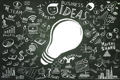 Business ideas.Freehand drawing Light bulb business doodles set. On blackboard,Inspiration concept modern design,Ideas for workflow background Royalty Free Stock Photo