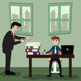 Business ideas, lazy businessmen and accumulation of work until Royalty Free Stock Photography