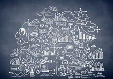 Business ideas sketch. Chalk drawn business plan sketch. Idea concept Stock Image