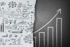 Business ideas sketch on paper change to success concept Royalty Free Stock Photos