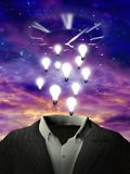 Business ideas. Surrealism. Light bulbs hovers over suit. Clock face in the purple sky. 3D rendering Royalty Free Stock Photo