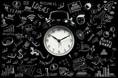 Business ideas.Time running up with alarm clock. And business doodles set ideas.Management concept Royalty Free Stock Image
