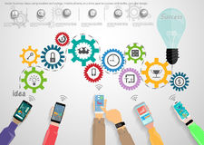 Vector business ideas using modern technology, mobile phones, in a drive gear to success with bulbs, icon, flat design. Royalty Free Stock Images