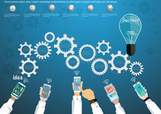 Vector business ideas using modern technology, mobile phones, in a drive gear to success with bulbs, icon, flat design. Royalty Free Stock Image