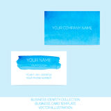 Business identity collection. Blue and turquoise watercolor. Front and back sides for business card template Royalty Free Stock Photography