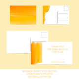 Business identity collection. Orange and yellow watercolor. Postcard templates in two size with back side. Vector EPS10. Business identity collection. Orange royalty free illustration