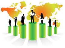 Business illustration. Illustration of business people on graph and map behind them Royalty Free Stock Images