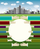 Business illustration with big city and hands Royalty Free Stock Photo