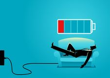 Recharging Businessman. Business illustration of a businessman taking a nap on sofa. Laying, relaxing, recharge, resting concept Stock Images