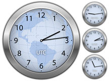 Business illustration with clocks. Showing time in New York, London and Tokyo Stock Photo