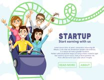 Business illustration with the company of happy people coming down from the roller coaster. Vector illustration for a website. The original banner for the royalty free illustration