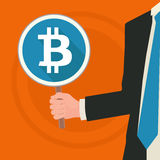 Business illustration concept. Business man holding a bitcoin sign, conceptual business illustration: we accept bitcoins Royalty Free Stock Photo