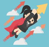 Business illustration concept Super woman launching on creative royalty free illustration