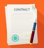 Business illustration contract with pen. Royalty Free Stock Images