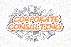 Corporate Consulting - Doodle Orange Text. Business Concept. Business Illustration of Corporate Consulting. Doodle Orange Text Hand Drawn Doodle Design Elements Royalty Free Stock Photos