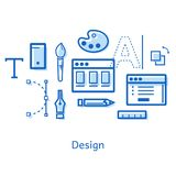 Doodle on the topic of design with icons. Business illustration with the image of the concept of design. Doodle on the topic of design with icons: letters, brush Stock Photos