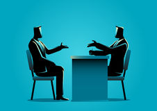 Man being interviewed by recruiter. Business illustration of a man being interviewed by recruiter. Negotiate, candidate business concept Royalty Free Stock Photo