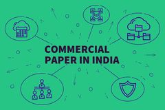 Business illustration showing the concept of commercial paper in stock illustration