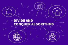 Business illustration showing the concept of divide and conquer. Algorithms Stock Photo