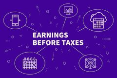 Business illustration showing the concept of earnings before tax. Es Royalty Free Stock Photo