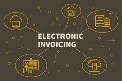 Business illustration showing the concept of electronic invoicing stock illustration