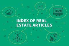 Business illustration showing the concept of index of real estate articles stock illustration