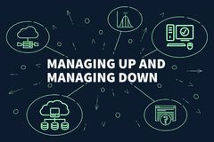 Business illustration showing the concept of managing up and managing down Stock Image