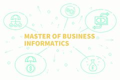 Business illustration showing the concept of master of business. Informatics Stock Photo