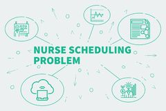 Business illustration showing the concept of nurse scheduling pr. Oblem Stock Photography