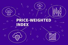 Business illustration showing the concept of price-weighted index stock illustration