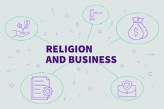 Business illustration showing the concept of religion and business vector illustration