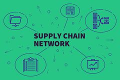 Business illustration showing the concept of supply chain networ. K Stock Photos