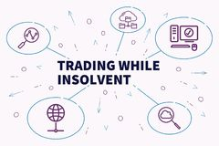 Business illustration showing the concept of trading while insol. Vent Stock Images