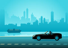 Businessman driving a convertible luxury car. Business illustration of a successful businessman driving a convertible luxury car on city quay vector illustration