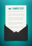 Business illustration template black envelope with paper Royalty Free Stock Image