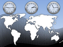 Business illustration with world map and clock's. Business illustration with world map and three clock's on abstract halftone backgroung Stock Images