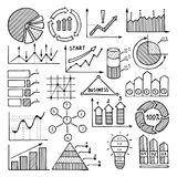 Business illustrations of charts, graphics and other different infographics elements. Pictures in hand drawn style Stock Images