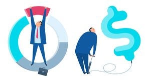 The business improve and growth flat vector concept illuctration. The business improve and growth concept. Businessman is inflating the dollar balloon. Manager Stock Photos