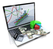 Business improvement and finance success analyzing concept. Lapt. Op with charts, money and electronic calculator on keyboard. 3d image Royalty Free Stock Photo