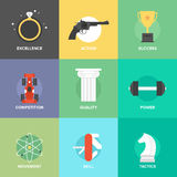 Business improvement skills flat icons set Royalty Free Stock Image