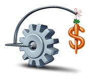 Business Incentives. As a financial metaphor with a stick and carrot shaped as a dollar sign leading a gear or cog wheel towards wealth and fortune as a symbol Royalty Free Stock Photos