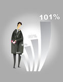 Business increase. Man looking at the increase of business royalty free illustration