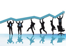 Business increase. A concept illustration of business increase with people and a sales or profit graph Stock Photo