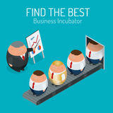 Business incubator Concept. Find the best start up. Flat 3d vector isometric illustration. Stock Images