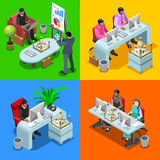 Business Indian 3D Isometric People. Indian isometric people business infographic. Businessman business man and woman employee.Flat 3D isometric people set Stock Image