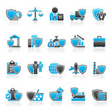 Business and industrial insurance icons Royalty Free Stock Photos